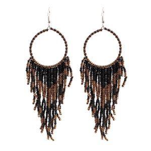 New  Black Bohemian pierced earrings Dream catcher